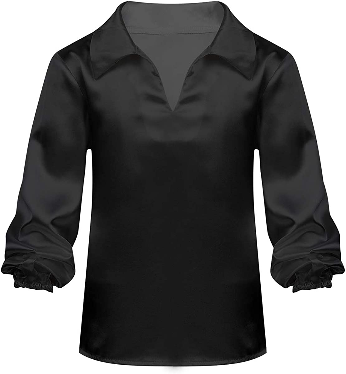 CHICTRY Boys Satin Long Sleeve Ballet Dance Shirt Ballroom Dancewear Dancing Latin Salsa Performance Pullover Top Clothes