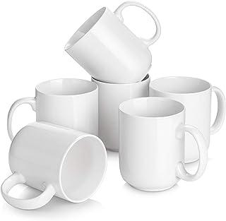 لیوان قهوه بزرگ DOWAN ، ست لیوان قهوه سرامیکی 20 اونس 6 تایی ، سفید کلاسیک.
