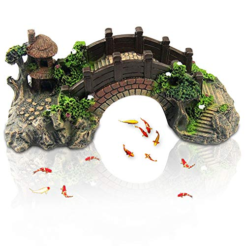 COTEY Aquarium Deko Höhle Aquarium Aquarium Deko Brücke Landschaftlich Gestaltet Brücke Ornament Aquarium Deko Höhle für Kleine Garnele Fisch für Aquarium, Aquarium, Fischteich
