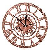 Uxsiya Reloj de Pared Decoración Moderna Sala de Estar Comedor para el Dormitorio de la Oficina en casa(Round Sun Roman Numeral Wall Clock)