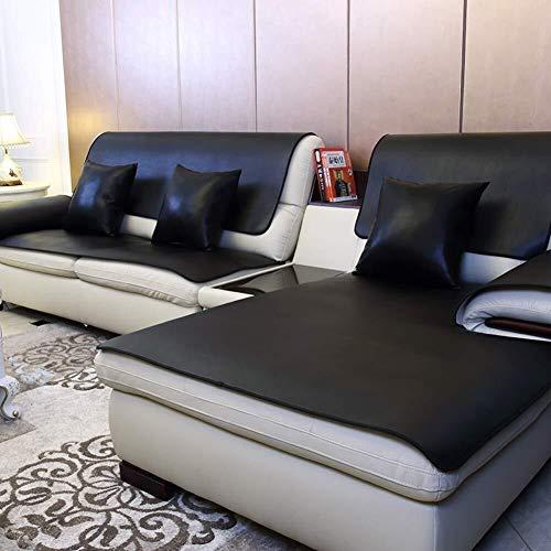 J-Kissen wasserdichte Leder-Sofa-Abdeckung, Anti-Proof Sofa Slipcover Handtuch No-Waschledersofa Kissenbezug Stoff Skidproof (Color : Black, Size : 60x120cm(24x47inch))