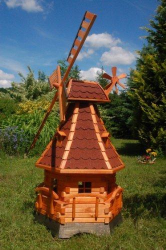 Windmühle, Gartenwindmühle, Windmühlen aus Holz, kugelgelagert 1,4m imprägniert (rot)