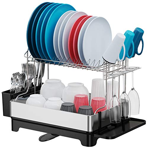 iSPECLE 304 Stainless Steel 2-Tier Dish Rack Only $22.99 (Retail $65.99)