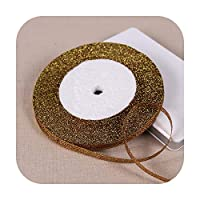 "1/4""(6mm)25ヤードゴールドシルバーメタリックグリッターリボンDIY工芸品縫製生地クリスマスパーティーウェディング用品ギフトラップ-74 Coffee-"