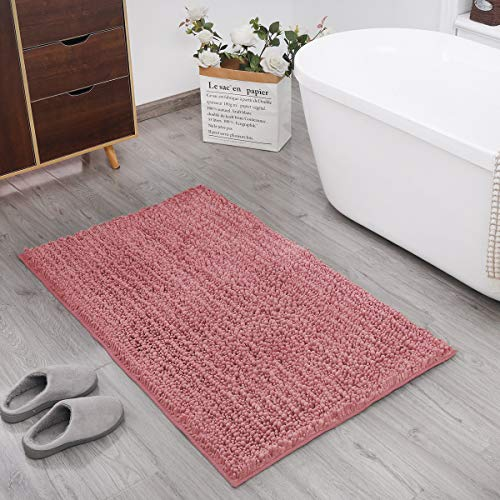 DEARTOWN Non-Slip Shaggy Bathroom Rug,Soft Microfibers Bath Mat with Water Absorbent, Machine Washable (20x32 Inches, Pink)