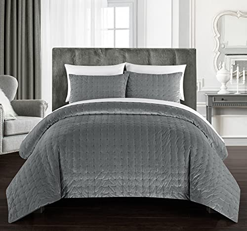 Chic Home Chyna 3 Piece Comforter Set Luxurious Hand Stitched Velvet Bedding - Decorative Pillow Shams Included, Queen, Grey