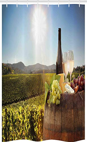 ABAKUHAUS Wijn Douchegordijn, Beroemde Chianti Vineyard, voor Douchecabine Stoffen Badkamer Decoratie Set met Ophangringen, 120 x 180 cm, Green Brown Pale Blue