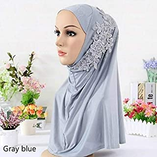 HBEI Muslim Women's Hijab Drilled Muslim Headscarf Embroidery Embroidered Turban (Blue)