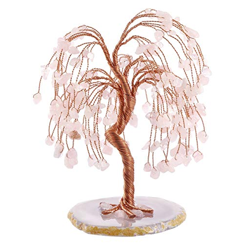 CrystalTears Feng Shui Money Tree Natural Rose Quartz Healing Crystal Money Tree Tumbled Gemstone Tree Of Life Ornament Figurine for Wealth Good Luck 5.5'-6.3'