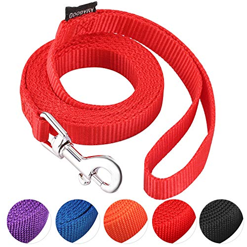 AMAGOOD 6 FT Puppy/Dog Leash, Strong and Durable Traditional Style Leash with Easy to Use Collar Hook,Dog Lead Great for Small and Medium and Large Dog(Red,5/8