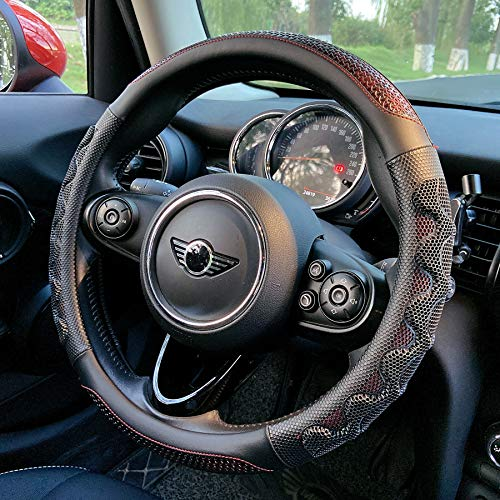 PINCTROT Steering Wheel Cover Great Grip with 3D Honeycomb Anti-Slip Design, Universal 15 Inch (Wine Red)