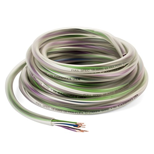 Carwires 18-AWG 9 Wire Car Speaker Wire (20 Feet / 6.09 Meters) True Spec, Soft Touch Color-Coded Cable with Polarity Markings. Great for Car Speaker Installations (SW9000-20)