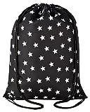 Aminata kids - Kinder-Turnbeutel für Mädchen und Damen mit Star Sternchen Stern-e Sport-Tasche-n Gym-Bag Sport-Beutel-Tasche schwarz Weiss-e