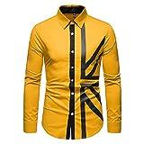 Camisas Formales para Hombres, Tops De Retazos De Manga Larga De Moda, Oficina Delgada para Negocios, Camisas Sociales para Hombres 2021 para Hombres Amarillo XL