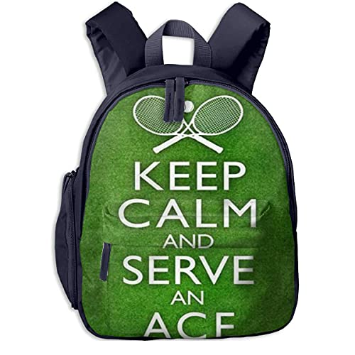Keep Calm e Ace Tennis Borsa per bambini Comodo zaino per studenti Divertente Super Bag