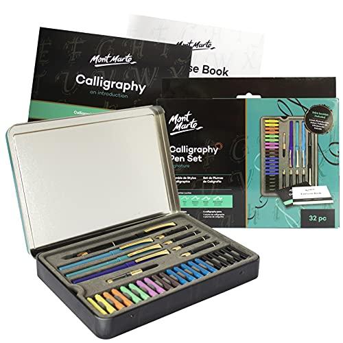Mont Marte Set Calligrafia - 32 pezzi - Perfetto per principianti - Include Penna Calligrafica 4x,...