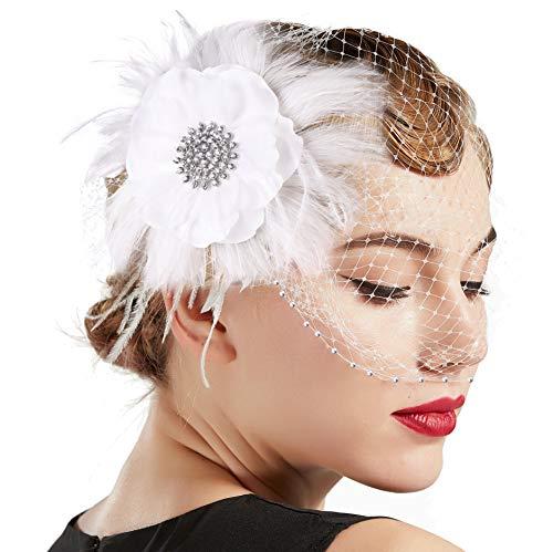 Coucoland 1920s Feder Stirnband Fascinator Haarspange Hochzeit Braut Fascinator Haarclips Elegant Damen Charleston Great Gatsby Fasching Kostüm Accessoires (Stil5 - Beige)