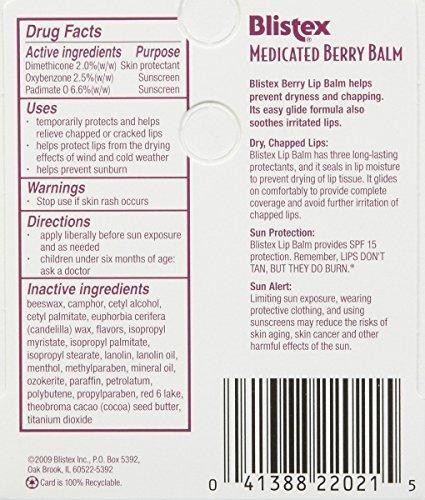 Blistex Medicated Berry Lip Balm, 3 pack