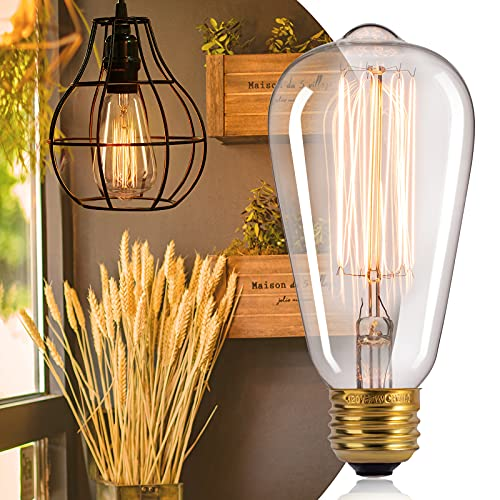 Edison Light Bulbs 60 Watt: 6 Pcs Clear Bulbs with Warm Yellowish Light Suit for E26/E27 Base Dimmable Incandescent Light Bulbs for Vintage Style Home Decoration Light Bulbs