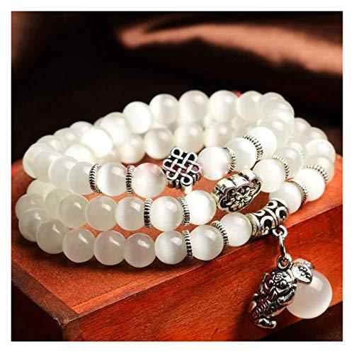 YCSC Beads de ópalo Natural Pulsera de Piedra Buda Buddha Charm Vintage Hombres Pulseras Joyería de Moda (Metal Color : White)