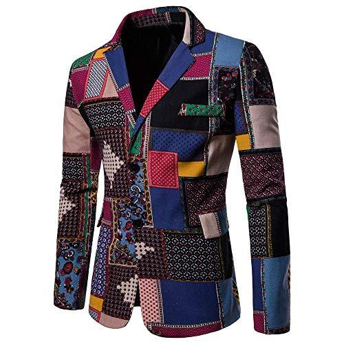 Logobeing Chaqueta de Traje para Hombre,Chaquetas para Hombre de Vestir Blazer Hombre Casual Chaqueta de Abrigo Tops (3XL, Multi)