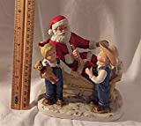 Homco 1985 Denim Days Santa's Visit 6x5 Inch Porcelain Christmas Figurine 8924