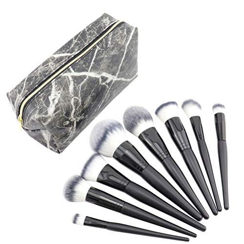 Kit de pinceaux de maquillage Beaupretty, pinceaux de maquillage 8pcs avec sac de rangement carré noir pour cosmétique Blush Eye Shadow