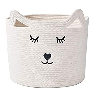 """InfiBay Baby Nursery Organizer for Toys, Baby Clothes Hamper with Handles, Toy Storage Bin for Nursery, Cute Nursery Storage Basket with Cute Cat Design, White Cotton Rope Basket, 11.8 """"(D)x 11.4 """"(H)"""