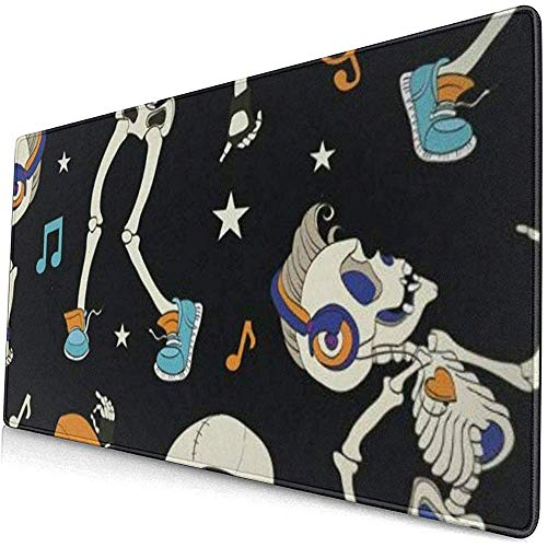 Gaming Extended Mouse Pads mit Rutschfester Gummibasis tanzende Skelette Party Halloween Musik Disco Note und Shine Star 30X80 cm
