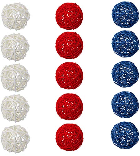 Sorive Wicker Rattan Balls 15 Pcs Decorative Multiple Color Orbs Natural Spheres Vase Fillers for...