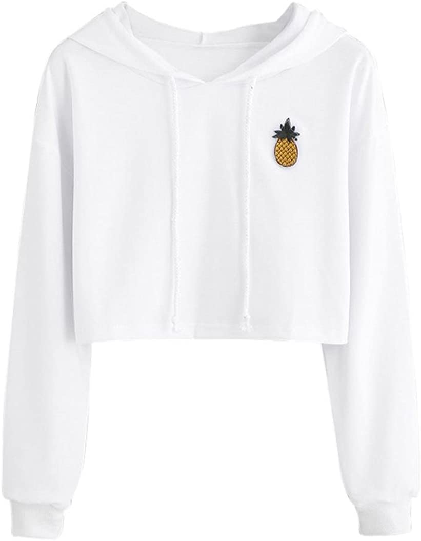 TOPUNDER Womens Hoodie Blouse Appliques Pinapple Sweatshirt Long Sleeve Tops Pullover