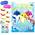 Shark Party Game Pin the Teeth on Shark Party Favors Games for Kids Shark Theme Birthday Baby Shower Ocean Party Supplies -24 Teeth
