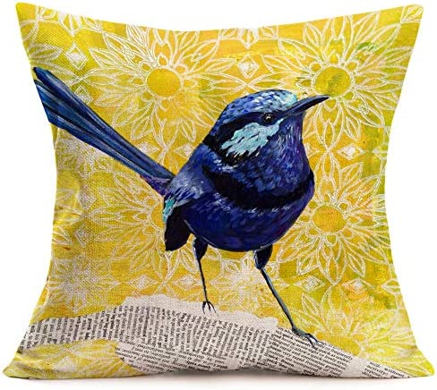Tlovudori Oil Painting Blue Robin Bird Throw Pillow Covers Yellow Background Lovely Animal with product image