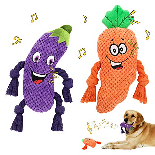 Lewondr Plush Dog Toys, Cute Soft Squeaky Plush Toy for Dogs Quality Corduroy Animated Stuffed Puppy Chew Toy with Squeakers Eggplant Carrot Interactive Soft Pet Toys for Teeth Cleaning - Colorful