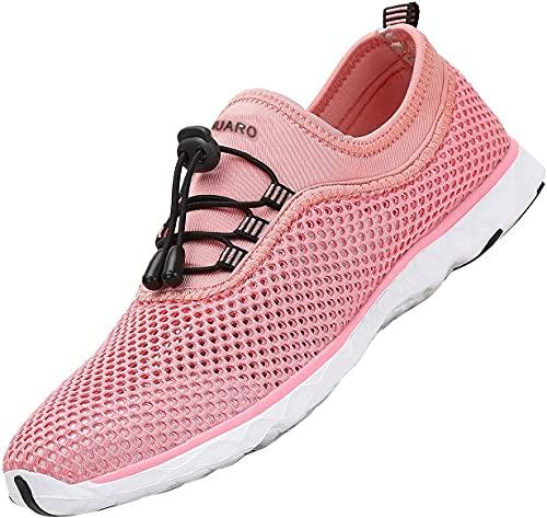 SAGUARO Zapatos de Aqua Mujer Zapatos de Playa Hombre Caminar Zapatos Casuales Ligero Zapatillas Trekking Respirable de Verano Rosa Gr.39
