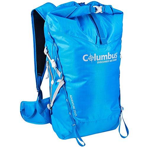 COLUMBUS Adventure 23 + 7 Mochila Impermeable para Senderismo o Trekking o Deportes de montaña en Invierno. Dispone de Tirantes Ajustables, Estabilizador de Carga y Soporte para Bastones Color Azul.