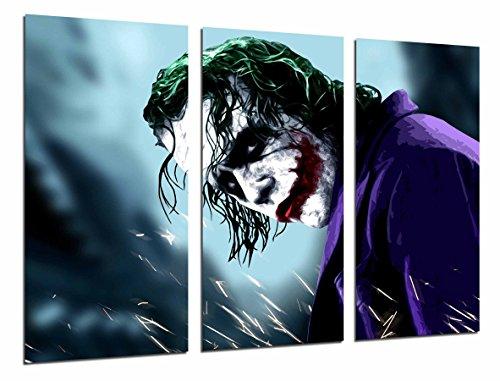 Scatola per stampe artistiche in legno con cornice, da appendere alla parete, motivo: Batman e Joker, supereroe (dimensioni totali: 96,5 x 61 cm), incorniciata e pronta da appendere, rif. 26591