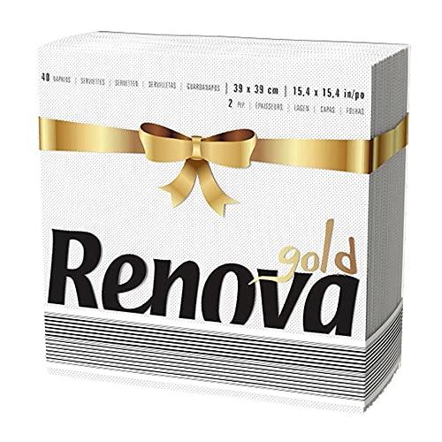 Renova Servilletas Renova Gold, 40 Servilletas Premium Blancas, Tamaño Grande, 2 Capas
