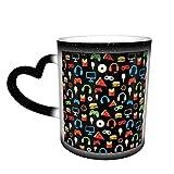 Tazza da caffè in ceramica che cambia il calore, con motivo di spuntino, per caffè, tè, latte o cacao, idea regalo per uomini e donne