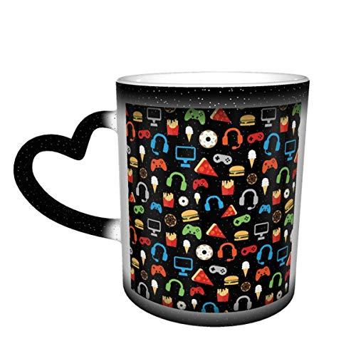 Taza de café de cerámica que cambia el calor, diseño de bocadillos para fiestas de videojuegos, taza de té mágica sensible para café, té, leche o cacao para hombres y mujeres