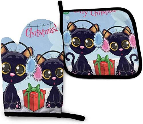 Guantes y agarraderas para Horno Regalos de Navidad para gatos Guantes de Cocina Guantes Resistentes Antideslizante para Cocinar, Hornear, Asar a la Parrilla, Gris