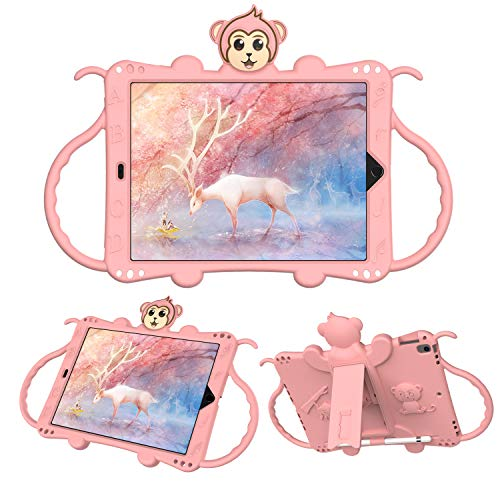 FANSONG Kids Case for iPad 10.2 2020,iPad 8th Gen 2020/7th Gen 2019 [Kid-Proof/Shockproof] Handle/Shoulder Strap/Kickstand Light weight Rugged Kids Friendly Protective Cover for Child,Rose Gold
