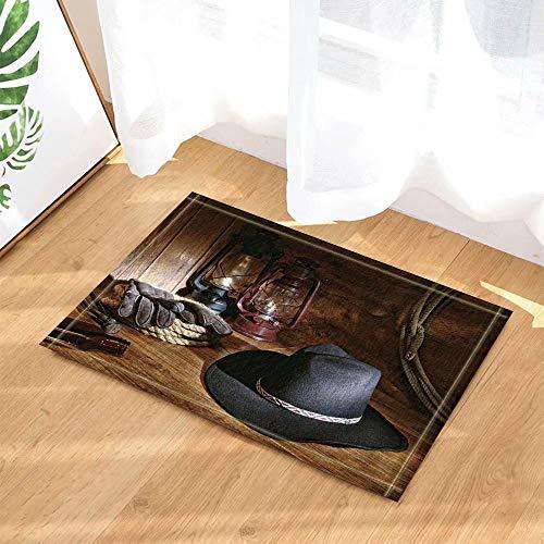 Western Barn Decor American West Sombrero de vaquero y lámpara en el piso de madera Alfombras de baño Alfombra antideslizante Entradas en el piso Puertas de entrada interiores Alfombra 50x80cm