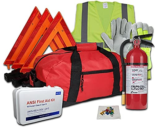 Safety and Trauma Supplies Hi-Viz All-in-One DOT OSHA Compliant Kit with 5LB 3A:40BC Kidde Fire Extinguisher Model PRO 5 TCM-8