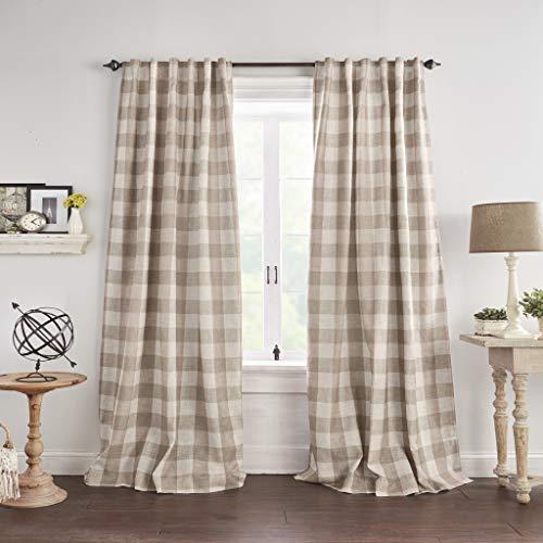 "Elrene Home Fashions Grainger Buffalo Check Blackout Window Curtain Panel, 52""x84"" (1, Linen"