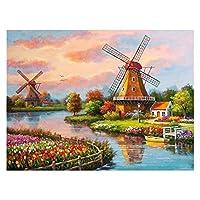 塗料:数字キット-Diyキャンバス絵画アクリル絵画ホームウォール装飾塗料番号キッズクリスマスギフト - 風車 (Size : 50x60cm)