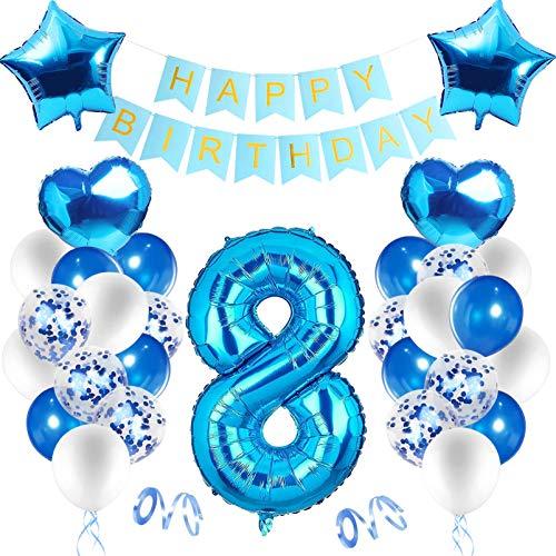 Decoración de cumpleaños en azul,Globos Numeros 8 Decoracion,8 Año Decoraciones de cumpleaños para niños,Decoraciones de Fiesta de Cumpleaños,8 año Cumpleaños Decoración Niño