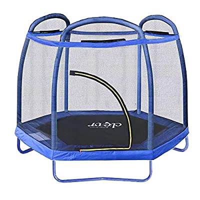 """Clevr 7ft Kids Trampoline with Safety Enclosure Net & Spring Pad, 7-Foot Indoor/Outdoor Round Bounce Jumper 84"""", Built-in Zipper Heavy Duty Frame, Blue 