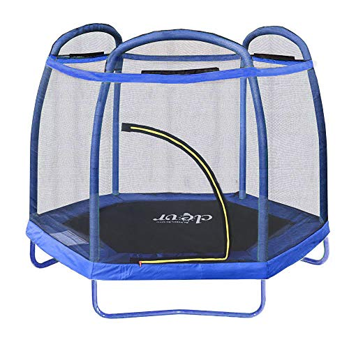 Clevr 7ft Kids Trampoline with Safety Enclosure Net & Spring Pad, 7-Foot Indoor/Outdoor Round Bounce Jumper 84', Built-in Zipper Heavy Duty Frame | Great Gift
