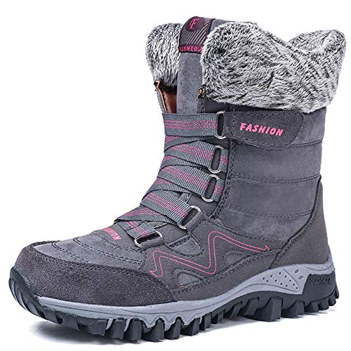 Womens Snow Boots Winter Fur Lined Warm Ankle Boots Outdoor Anti-Slip Shoes Lace up Walking Causal Sneaker Grey